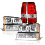 Chevy Silverado 2003-2006 LED DRL Headlights Set LED Tail Lights Red Tube