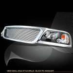 2002 Ford F150 Chrome Grille and Black Headlights Set