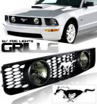 2007 Ford Mustang Black Grille with Emblem and Fog lights