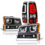 2003 Chevy Silverado Black LED DRL Headlights Set LED Tail Lights Tube