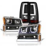 Chevy Silverado 2003-2006 Black LED DRL Headlights Set Tube LED Tail Lights