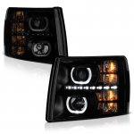 2009 Chevy Silverado Black Smoked Halo LED DRL Projector Headlights