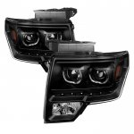 2010 Ford F150 Black Halo Projector Headlights LED DRL