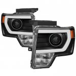 2010 Ford F150 Black DRL Tube Projector Headlights