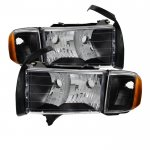 Dodge Ram Sport 1999-2002 Black Headlights and Signal Lights