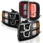 2009 Chevy Silverado 3500HD Black LED DRL Projector Headlights Custom LED Tail Lights Red Tube