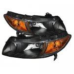 Honda Civic Coupe 2006-2011 Black Headlights