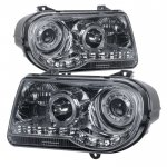 Chrysler 300C 2005-2010 Smoked LED Halo Projector Headlights