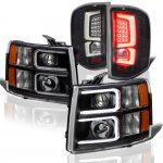 Chevy Silverado 3500HD 2007-2014 Black Custom DRL Projector Headlights LED Tail Lights