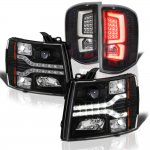 2012 Chevy Silverado Black Facelift DRL Projector Headlights Custom LED Tail Lights