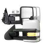 Chevy Silverado 3500HD 2015-2019 White Towing Mirrors Clear LED DRL Power Heated