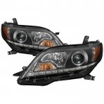 Toyota Sienna 2011-2017 Black LED DRL Halogen Projector Headlights