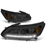 Honda Accord 2013-2015 Smoked Projector Headlights Tube DRL