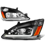 2007 Honda Accord Black Headlights Tube DRL