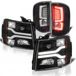 2013 Chevy Silverado 2500HD Black Tube DRL Projector Headlights Custom LED Tail Lights