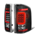 2007 Chevy Silverado Black LED Tail Lights Red C-Tube