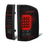 2007 Chevy Silverado Black Smoked LED Tail Lights Red C-Tube