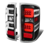 2015 Chevy Silverado 2500HD Black LED Tail Lights C-Tube