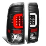 1998 Ford F150 Black LED Tail Lights C-Tube