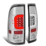 2002 Ford F250 Super Duty Clear LED Tail Lights C-Tube