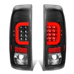 2002 Ford F250 Super Duty Black LED Tail Lights Red C-Tube