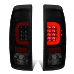 2007 Ford F350 Super Duty Black Smoked LED Tail Lights Red C-Tube