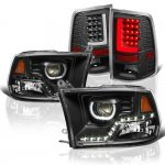 2010 Dodge Ram 3500 Black LED DRL Projector Headlights LED Tail Lights Tube
