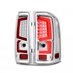 GMC Sierra 3500HD Dually 2007-2014 Custom LED Tail Lights Chrome Red