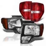 Ford F150 2009-2014 Black Headlights and Red LED Tail Lights