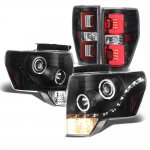 2011 Ford F150 Black LED DRL Halo Projector Headlights Custom LED Tail Lights Red Tube