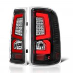 GMC Sierra 1500 2007-2013 Black Custom LED Tail Lights Red Tube