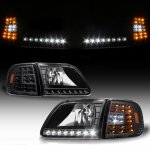 1999 Ford Expedition Black Euro Headlights and LED Corner Lights Set