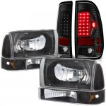 2001 Ford F250 Black Headlights Set and LED Tail Lights