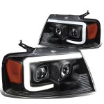 Ford F150 2004-2008 Black Projector Headlights Tube DRL