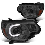 Toyota Tacoma 2012-2015 Smoked Projector Headlights Tube DRL