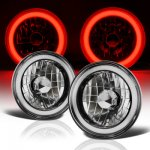 1975 Nissan 260Z Black Red Halo Tube Sealed Beam Headlight Conversion