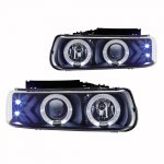 2002 Chevy Silverado Black Halo Projector Headlights LED