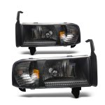 2001 Dodge Ram 2500 Black Headlights 1PC Conversion