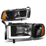 2001 Dodge Ram Black Headlights Tube DRL
