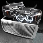 2004 Ford F150 Chrome Vertical Grille and Black Projector Headlights Set