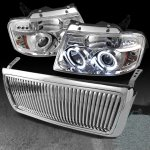 2004 Ford F150 Chrome Vertical Grille and Projector Headlights Set