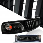2002 Ford F150 Black Vertical Grille and Halo Projector Headlights Set