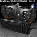 2003 Chevy Tahoe Black Vertical Grille and Smoked Headlights with LED