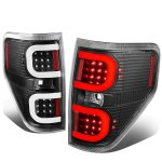 2010 Ford F150 Black LED Tail Lights C-Tube