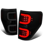 2009 Ford F150 Black Smoked LED Tail Lights C-Tube