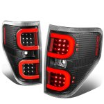 2010 Ford F150 Black LED Tail Lights Red C-Tube
