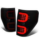 2010 Ford F150 Black Smoked LED Tail Lights Red C-Tube