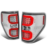 Ford F150 2009-2014 Clear LED Tail Lights Red C-Tube