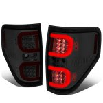 Ford F150 2009-2014 Smoked LED Tail Lights Red C-Tube