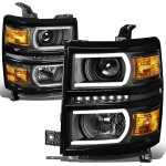 2015 Chevy Silverado 1500 Black Projector Headlights Tube DRL